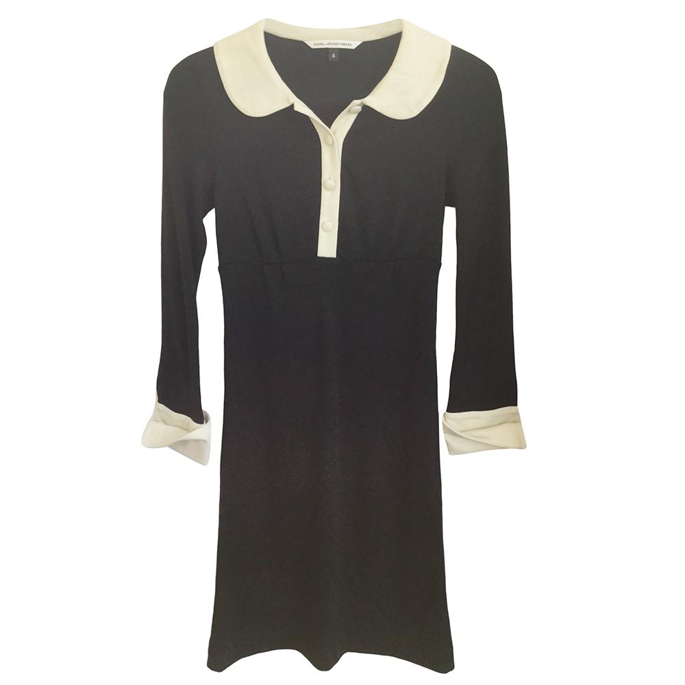 Diane Von Furstenberg Black/Cream Wool Dress