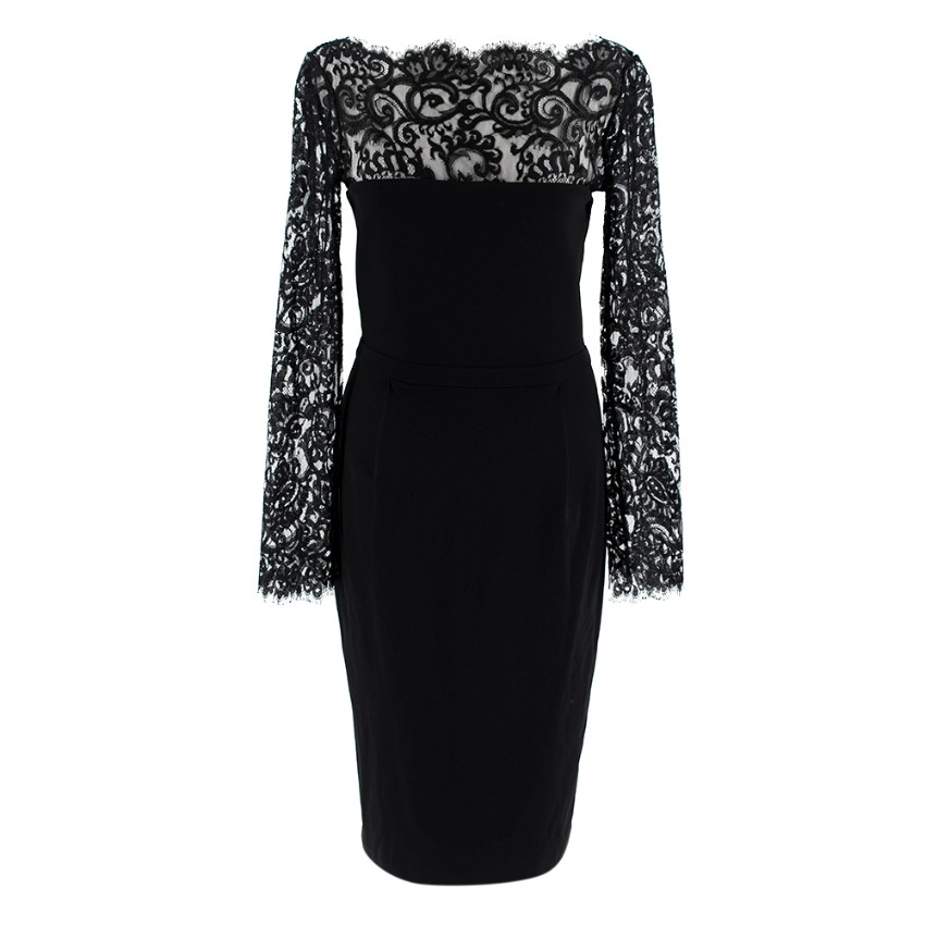 Gucci Black Eyelash Lace Trimmed Fitted Dress