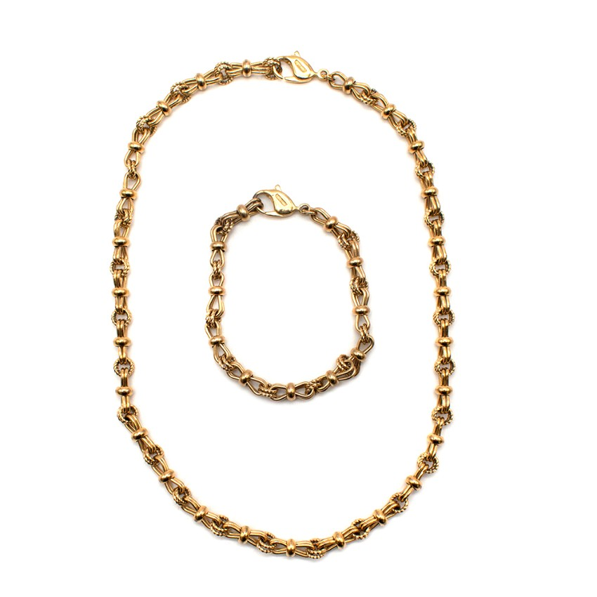 Christian Dior Gold Link Chain Necklace & Bracelet
