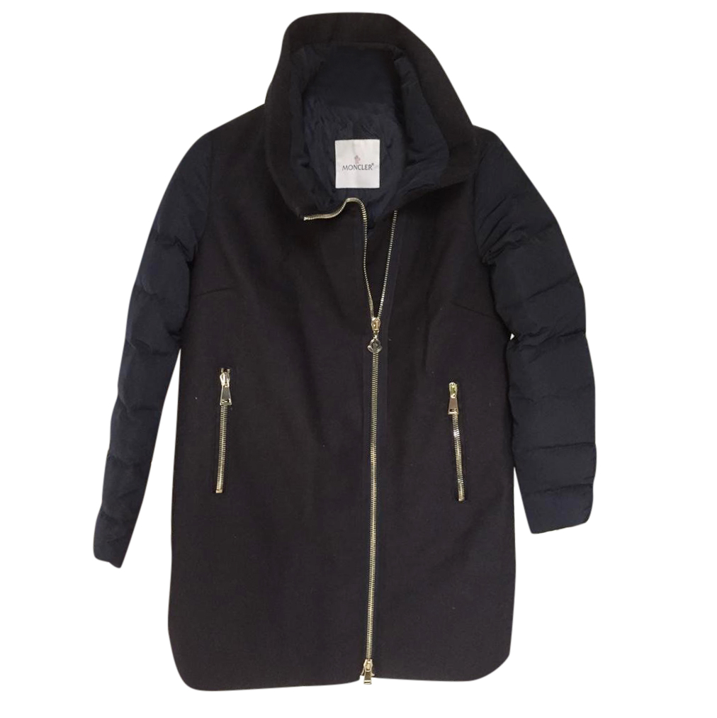 Moncler Navy Down Wool Coat