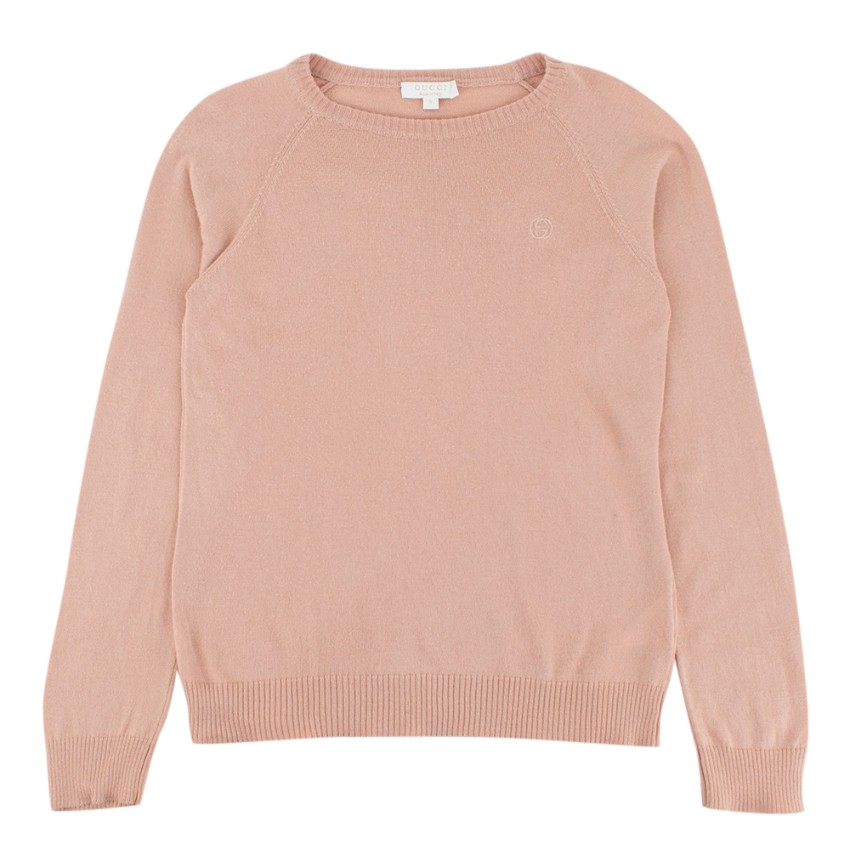 Gucci Pale Peach Cotton Cashmere Blend Knitted Jumper