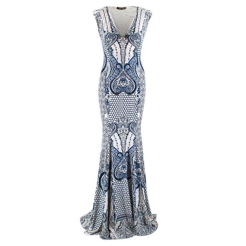 Roberto Cavalli Blue & White Patterned Gown