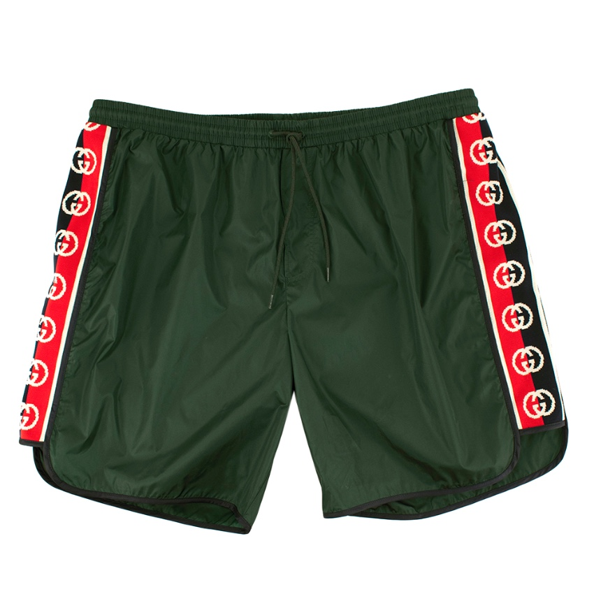 Gucci Green Swim Shorts with Logo Stripes