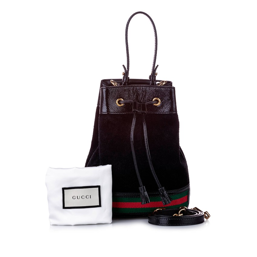Gucci Small Ophidia Suede Bucket Bag