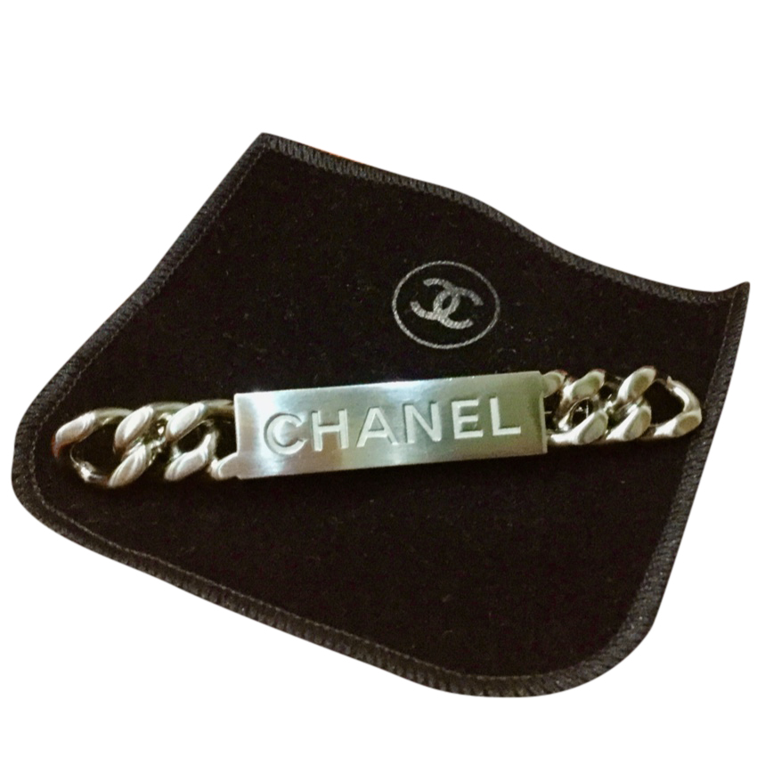 Chanel Brushed Silver Chain Detail Pin Brooch