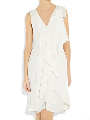 Oscar De La Renta White Asymmetric Ruffle Dress