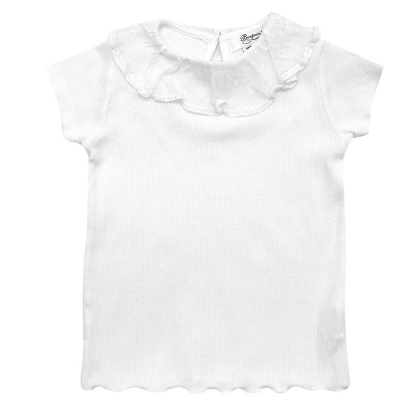 Bonpoint White Ribbed Cotton Top with Lace Collar