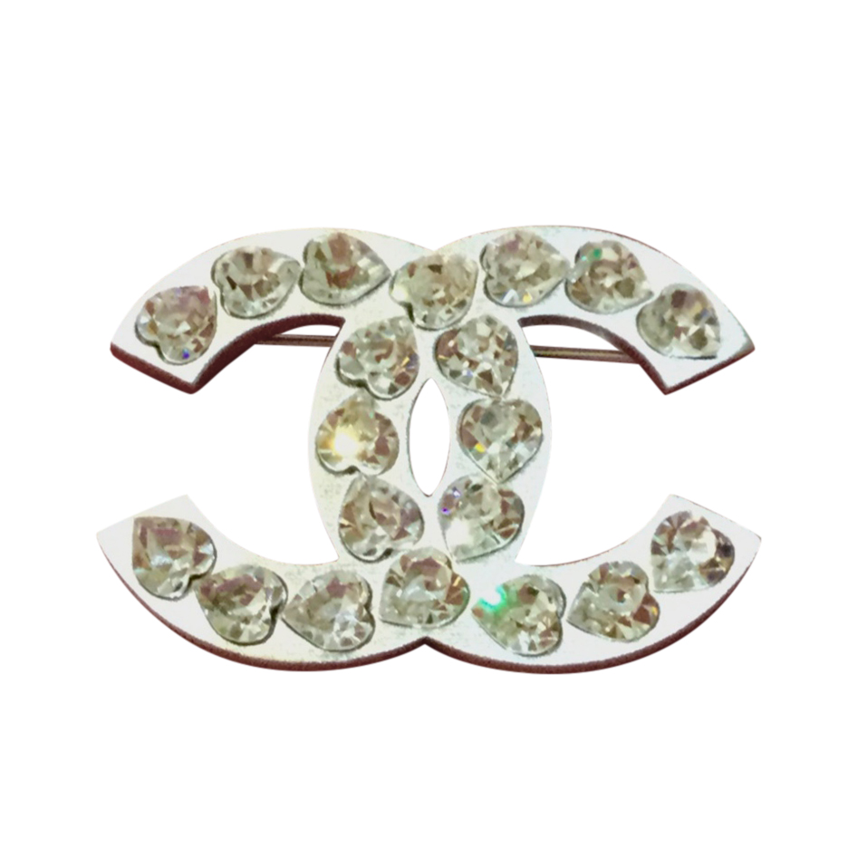 Chanel Crystal Heart Embellished CC Pin Brooch