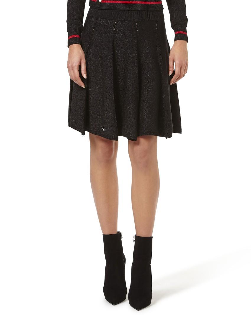 Philipp Plein pleated knit full flared lurex blend skirt