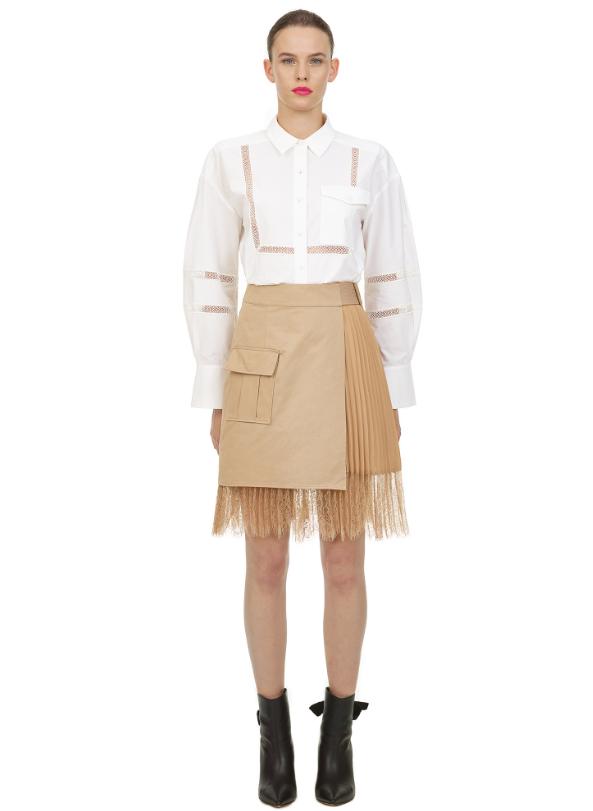 Self Portrait Beige Canvas Mini Wrap Skirt