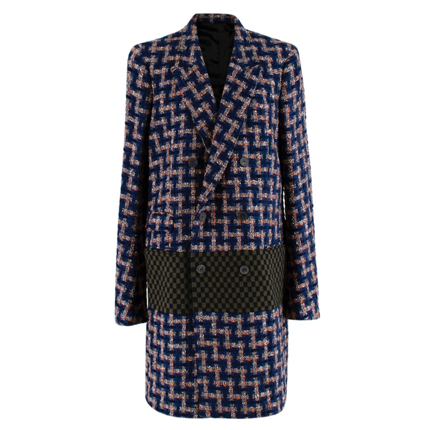 Haider Ackermann Blue Tweed Double Breasted Coat