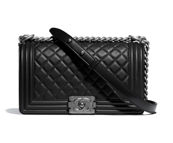 Chanel Black Quilted Leather Medium Boy Bag