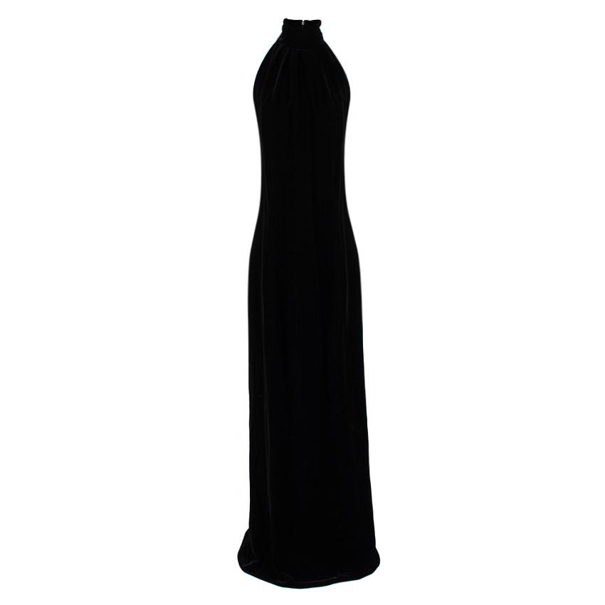 Christian Dior Black Velvet Sleeveless High Neck Gown