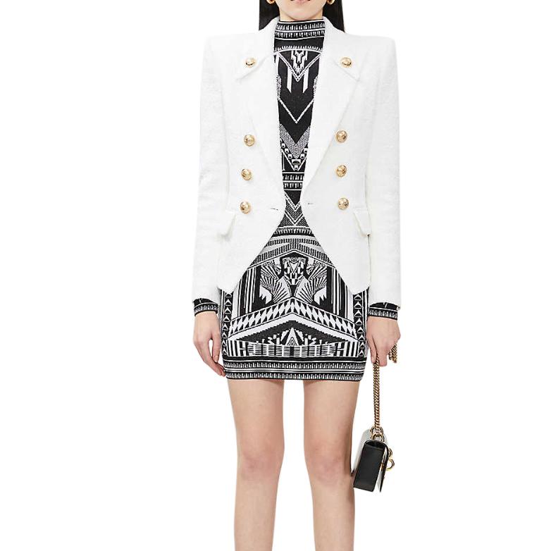 Balmain White Cotton Tweed Tailored Jacket