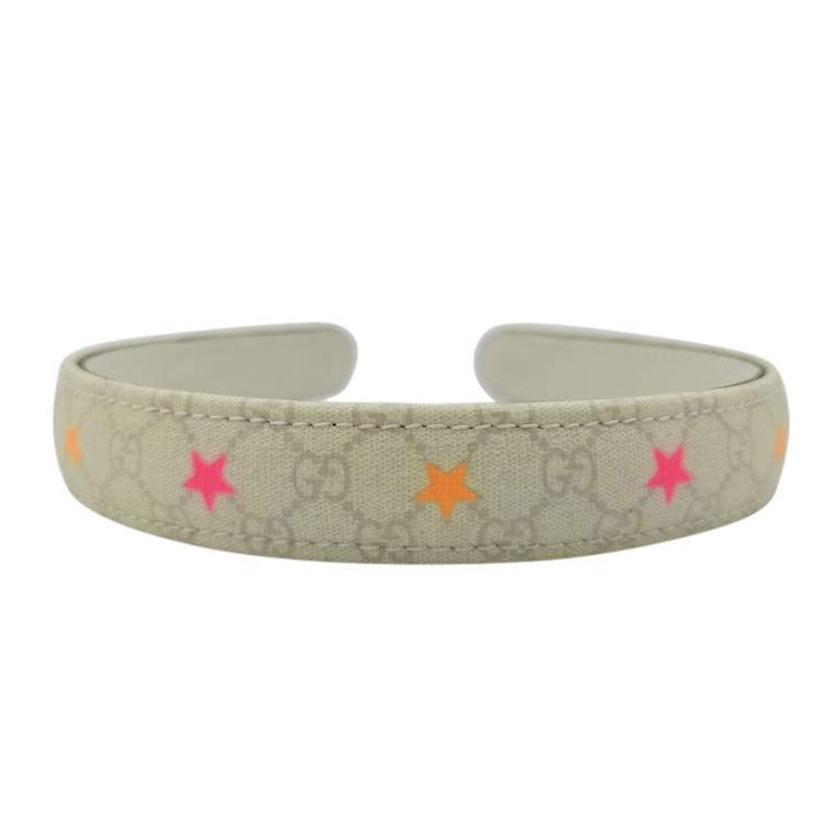Gucci Grey Monogram Hairband with Neon Star Print