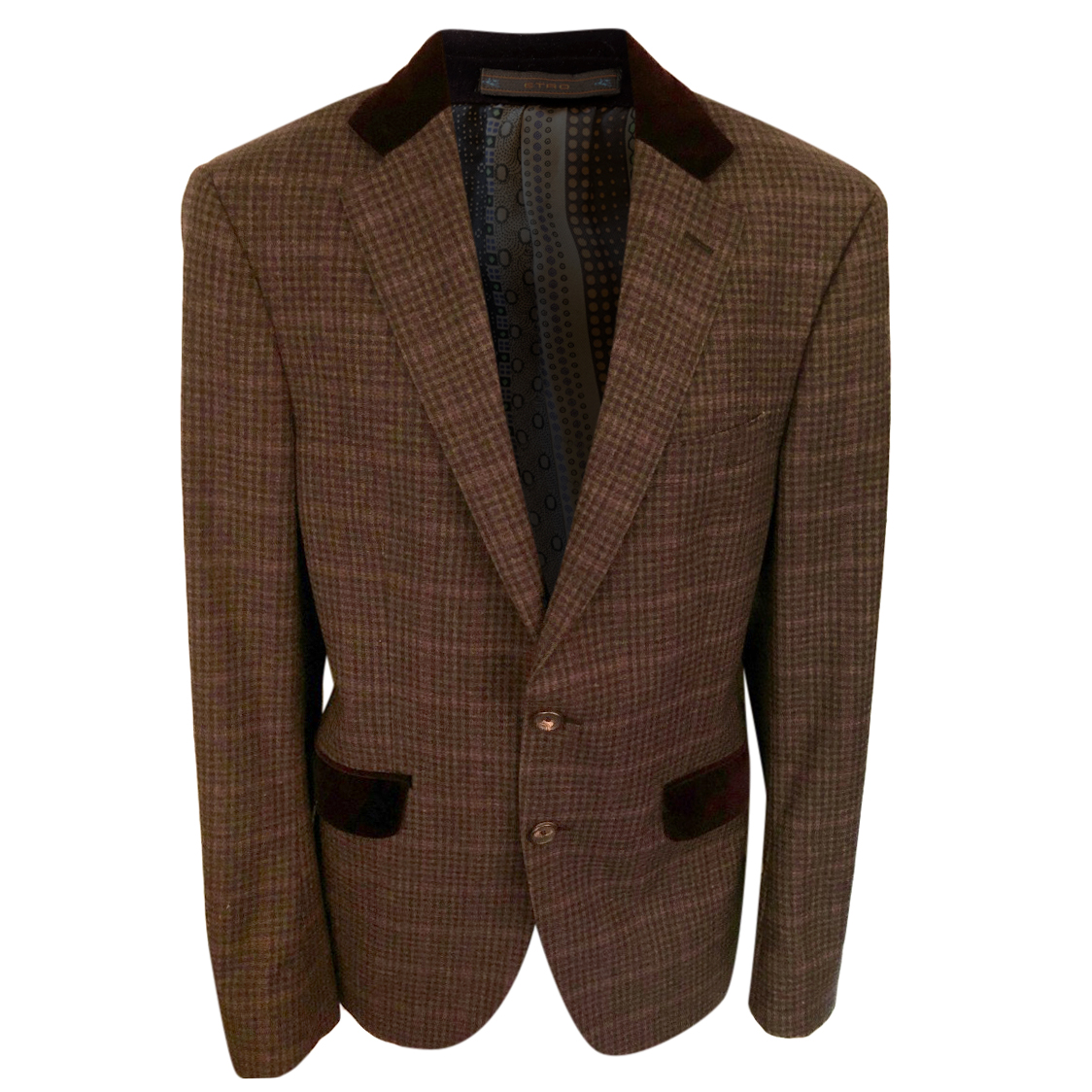 Etro Wool & Cashmere Mens Check Tailored Jacket