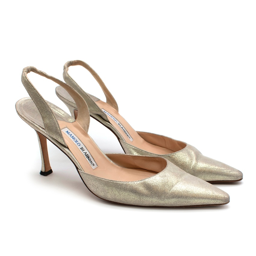 Manolo Blahnik Golden Leather Sling Back Sandals