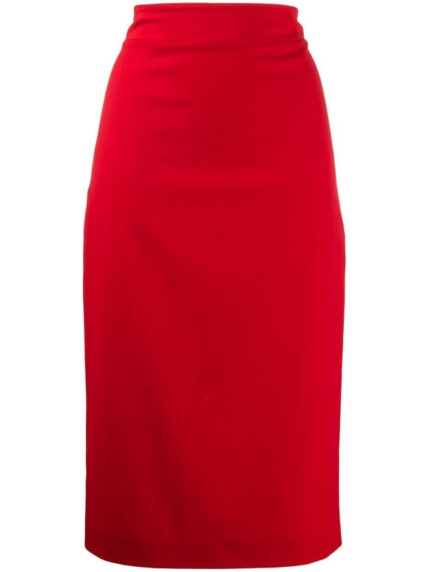Blumarine Stretch Wool Crepe Red Midi Skirt