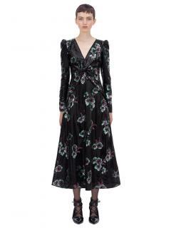 Self Portrait Midnight Blossom Twisted Midi Dress