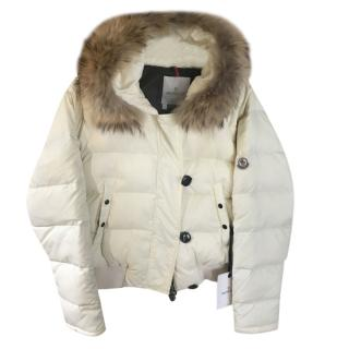 Moncler Cream Down Puffer Jacket with Raccoon Fur Trim