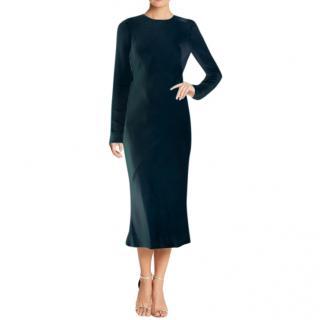 Tibi Dark Blue Midi Silk Dress with Sheer Back