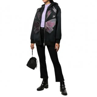 Coach Black Oversized Leather Butterfly Hooded Jacket