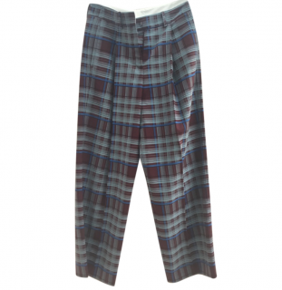 Alysi Check High Waist Wool Blend Pants