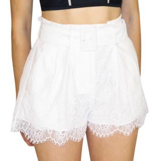Self Portrait White Lace Shorts