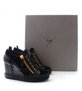 Giuseppe Zanotti Navy Mixed Leather Wedge Zip Detail Sneakers