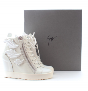 Giuseppe Zanotti White Leaf Applique Lorenz Wedge Sneakers