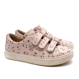 Bonpoint Leather Baby Pink Cherry Motif Low-Top Sneakers