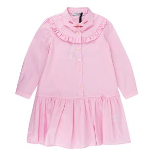 Vivetta Girl's Pink Shirt Dress with Embroidered Collar
