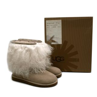 Ugg Taupe Suede Mongolian Sheepskin Cuff Boots