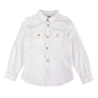 Bonpoint White Denim Shirt with Top Stitching