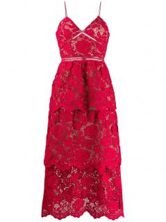 Self Portrait Red Lace A-Line Dress