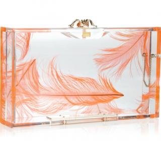 Charlotte Olympia Pandora feather Perspex box clutch