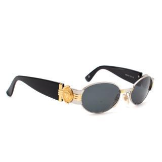 Gianni Versace Silver & Gold Logo Round Sunglasses