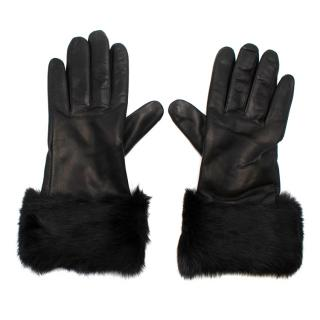 Aspinal of London Fur trimmed Black Leather Gloves