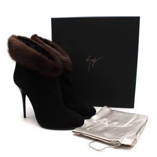 Giuseppe Zanotti Mink Fur Trimmed Black Suede Ankle Boots