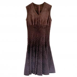 Alaia Burgundy Velvet A-Line Sleeveless Dress
