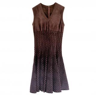 Alaia Burgundy Velvet A-Line Sleeveless Dress