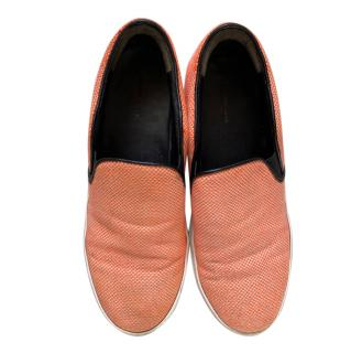 Celine Orange Woven Knit Skater Shoes