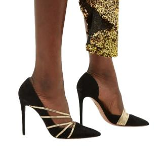 Aquazzura Minou 105 metallic-strap suede pumps