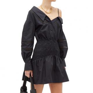 Self Portrait Black One Shoulder Cotton Poplin Mini Dress