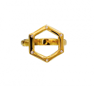 Bespoke 18kt Yellow Gold Hexagonal Diamond Ring