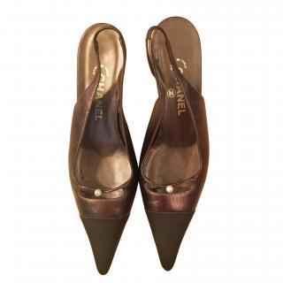 Chanel Metallic Slingback Kitten Heel Pumps