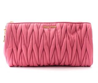 Miu Miu Pink Matelasse Leather Clutch