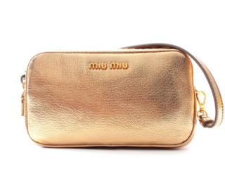 Miu Miu Gold Metallic Leather Camera Bag