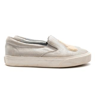 Bonpoint Slip-on Silver Brushed Cherry Applique Trainers