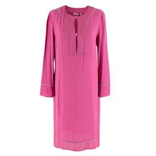 REDValentino Pink Silk Crepe De Chine Diamante Trim Tunic Dress